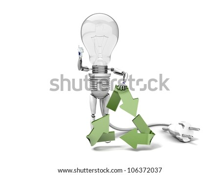 """The robot """"bulb"""" leans on recycling symbol and show """"ok""""  isolated on a white background - stock photo"""