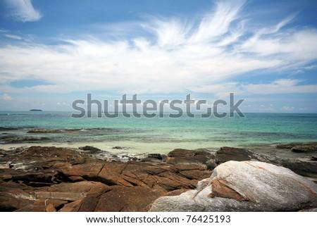 The rock beach in Ao Pai bay, Mu Koh Samet - Khao Laem Ya National Park, Rayong, Gulf of Thailand coast - stock photo