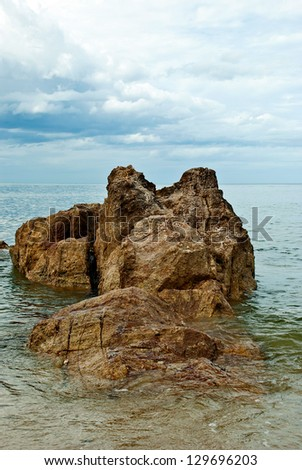 the rock is big , inside beach sea , the tourist attraction of Thailand , - stock photo