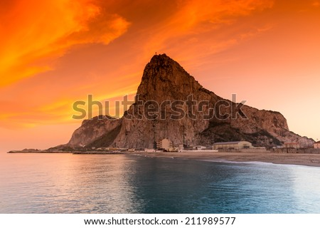 The rock of Gibraltar seen from the bayside - stock photo