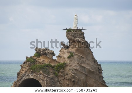 The Rock of the Virgin Mary.Photographing in the summer in the town of Biarritz (France). - stock photo