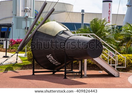 The Rocket Garden at Kennedy Space Center NASA. Tourist attraction, historical rockets from exploration for United States of America space flight - stock photo