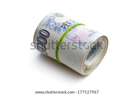 the roll of czech money on white background - stock photo