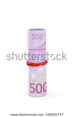 The roll of 500's Euros, isolated on white background - stock photo