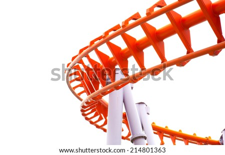 The roller coaster isolated on white background. - stock photo