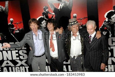 The Rolling Stones, Mick Jagger, Ronnie Wood, Keith Richards, Charlie Watts at the press conference for SHINE A LIGHT Press Conference, The New York Palace Hotel, New York, March 30, 2008 - stock photo