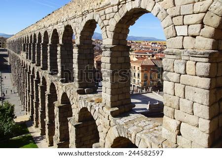 The Roman Aqueduct of Segovia. Segovia, Spain - stock photo