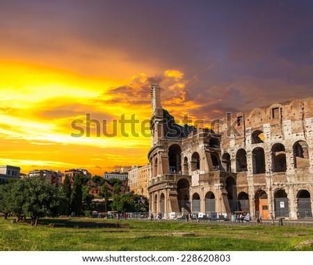 The Roman Coliseum at sunset. - stock photo