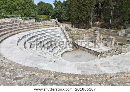 The Roman Odeion of Kos island in Greece  - stock photo