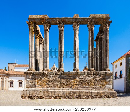 The Roman Temple of Evora (Templo romano de Evora), also referred to as the Templo de Diana is an ancient temple in the Portuguese city of Evora  - stock photo
