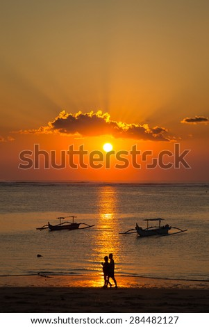 The romantic sunset in Bali - stock photo