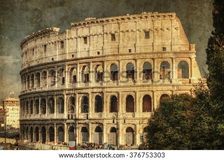 The Rome Colosseum. Retro toned - stock photo