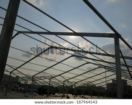The roof is a steel structure - stock photo