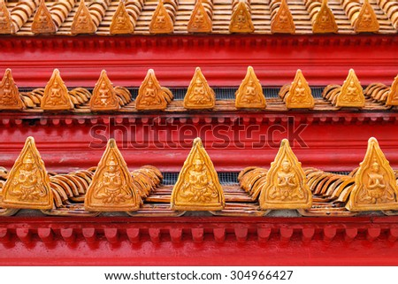 The roof of  Benchamabophit Temple (The Marble Temple), Bangkok, Thailand - stock photo