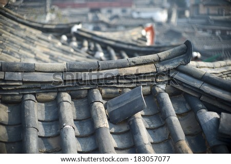The roof of Bukchon Hanok Village which is one of the famous place for Korean traditional houses have been preserved  - stock photo