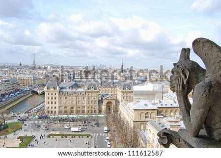 The roofs of Paris, Notre Dame Cathedral - stock photo