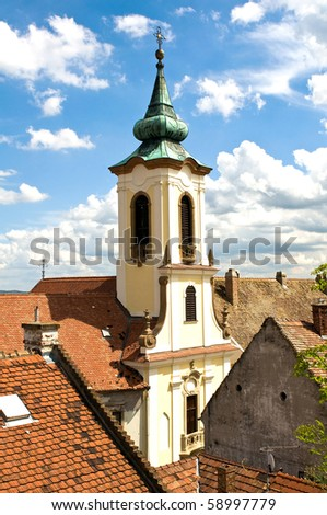 The roofs of the downtown Szentendre, Hungary - stock photo
