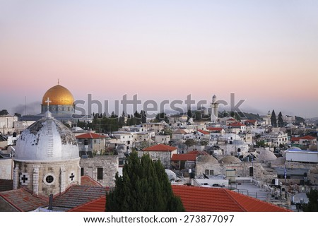 The roofs of the old city of Jerusalem - stock photo