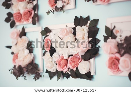 The room is beautifully decorated with colorful flowers - stock photo