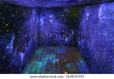 The room with space universe around. Elements of this image furnished by NASA - stock photo
