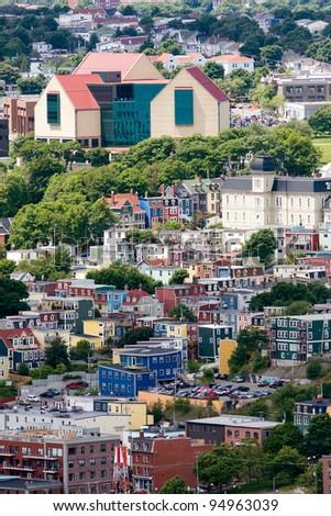 The Rooms overlooking St John's, Newfoundland - stock photo