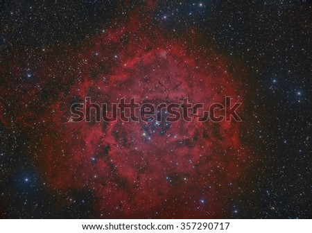 The Rosette Nebula in the Constellation Monoceros - stock photo