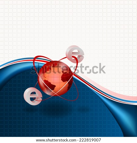 The rotation of electrons around nucleus or internet spinning around world...Abstract concept for office and business background, brochure, postcard. - stock photo