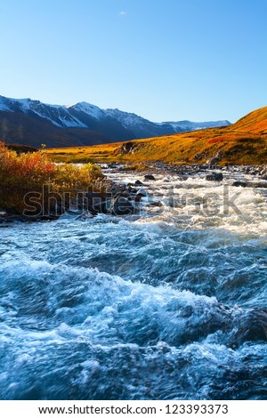 the rough mountain river among glaciers in the evening - stock photo