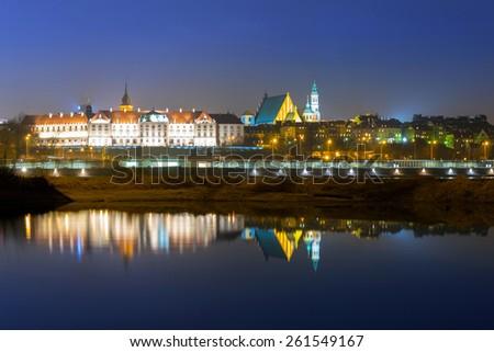 The Royal Castle at Vistula river in Warsaw, Poland - stock photo