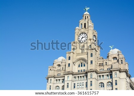 The Royal Liver Building on a sunny day, Liverpool, Merseyside, UK - space for free text  - stock photo