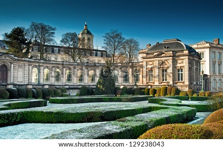 The Royal Palace in center of Brussels in winter, Belgium - stock photo