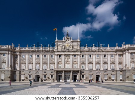 The Royal Palace of Madrid (Palacio Real de Madrid) is the official residence of the Spanish Royal Family at the city of Madrid, Spain. - stock photo