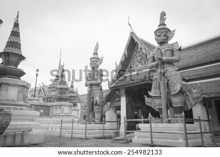 The Royal Palace or Wat Phra Kaew in Bangkok, Thailand in black and white - stock photo