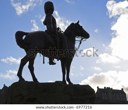 The Royal Scots Greys' Memorial Statue, Princes Street, Edinburgh, Scotland, UK - stock photo