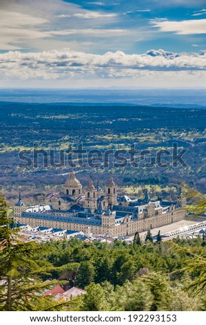 The Royal Seat of San Lorenzo de El Escorial, historical residence of the King of Spain, about 45 kilometres northwest Madrid, in Spain. - stock photo