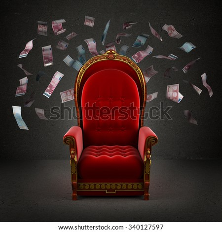 the royal throne in the room with falling euro banknotes - stock photo