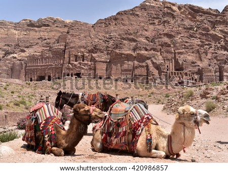 The Royal Tombs of Petra are made of four distinct tombs: the Urn Tomb, the Silk Tomb, the Corinthian Tomb, and the Palace Tomb - stock photo