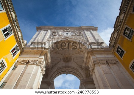 The Rua Augusta Arch in Lisbon. Here are the sculptures made of Celestin Anatole Calmels and Victor Bastos. Portugal, Europe. - stock photo