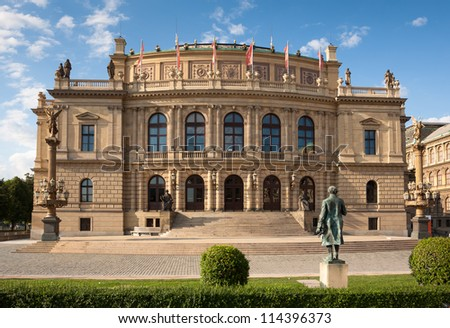 The Rudolfinum Prague, a beautiful neo-renaissance building which is home to the Czech Philharmonic Orchestra. - stock photo