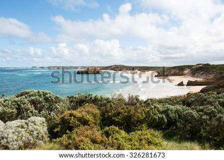 The rugged coastline beside the Great Ocean Road, Southern Victoria, Australia - stock photo