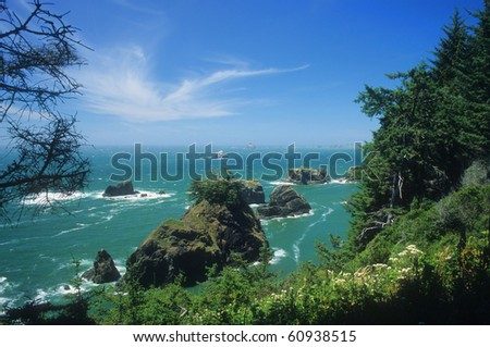 The rugged southern coast of Oregon features lots of scenic beauty. - stock photo