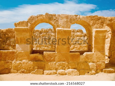 The ruin of ancient stables in the remains of the old city of Mamshit (1-3 BC) in Negev, Israel - stock photo