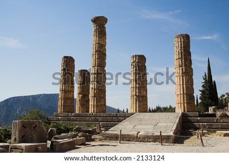 The ruin of the Temple of Apollo at Delphi, Greece - stock photo