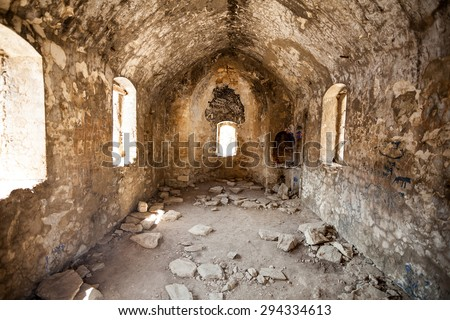 the ruined church in Turkey - stock photo