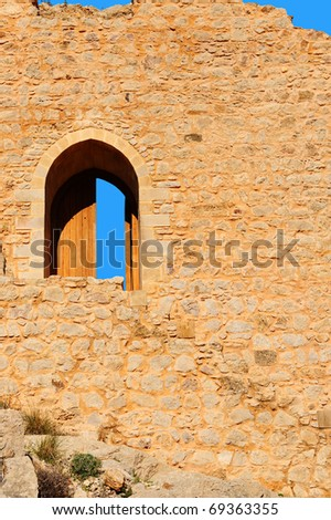 The Ruins of a Medieval Fortress on the Greek Island of Rhodes - stock photo