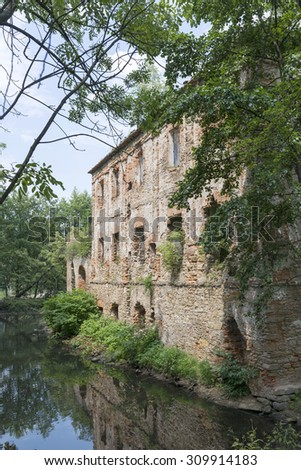The ruins of an ancient castle from XIV century in Pankow. Lower Silesia, Poland - stock photo