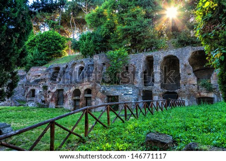 The ruins of ancient Rome. - stock photo