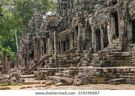 The ruins of Angkor Thom Temple in Cambodia - stock photo