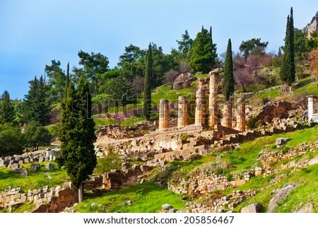 The ruins of Apollo temple in Delphi, Greece - stock photo