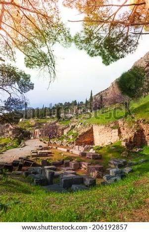 The ruins of Delfi, Greece - stock photo